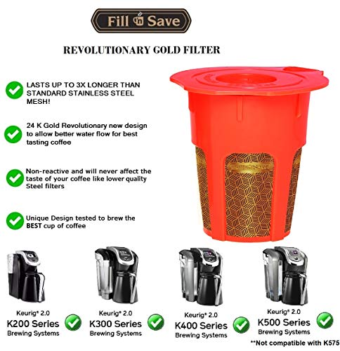 Fill N Save 2 Pack Reusable Carafe K-Cups. Reusable coffee filter for the Keurig 2.0, K200, K300, K400, K500 Series of Machines (Gold Filter)