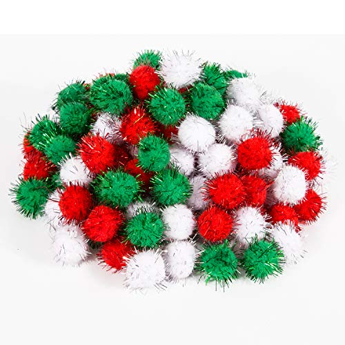 LUTER Christmas Pom Poms Pompoms Balls Glitter Pom Decorations Xmas DIY Crafts Supplies for Kids, 25mm, Green, Red, White(100 Pieces)