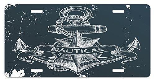 zaeshe3536658 Marine License Plate, NauticaKnot Compass Anchor Pattern Sea World Ocean Life Grunge Illustration, High Gloss Aluminum Novelty Plate, 6 X 12 Inches, Dark Blue White by zaeshe3536658