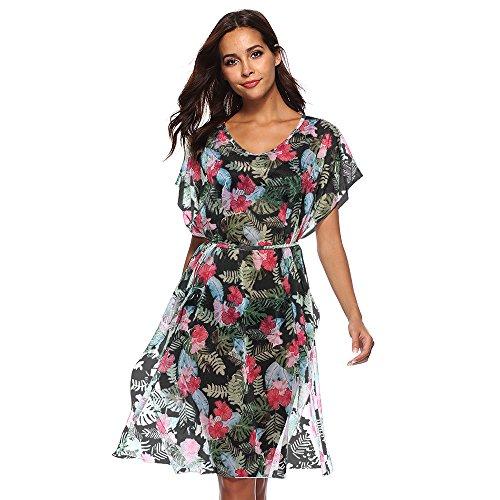 Sfit Femme Robe de Plage avec Ceinture Manches Courtes Floral Col Rond en Polyester Noir