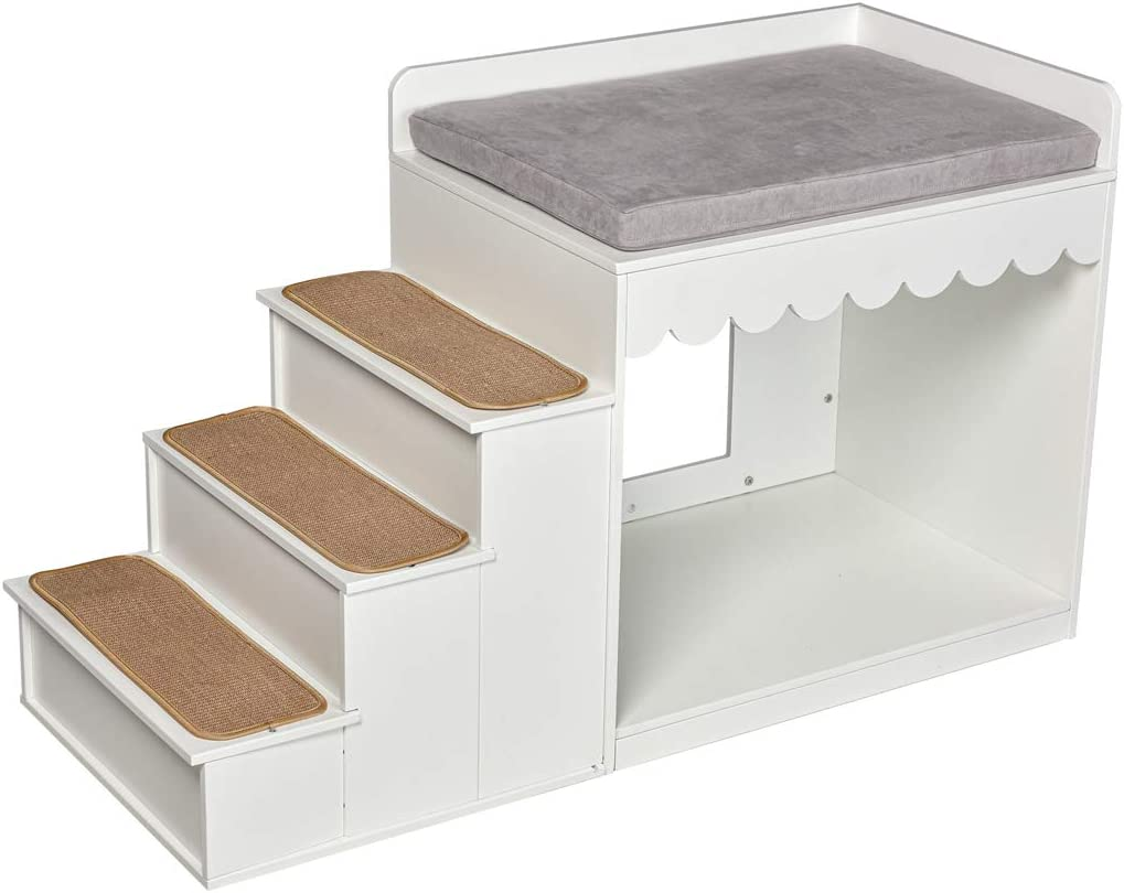 Multifunction Indoor Pet Multi-Level Bed Wood Stairs Bunk Bed Combination Condo for Cats, Small or Medium Dog 24 H White