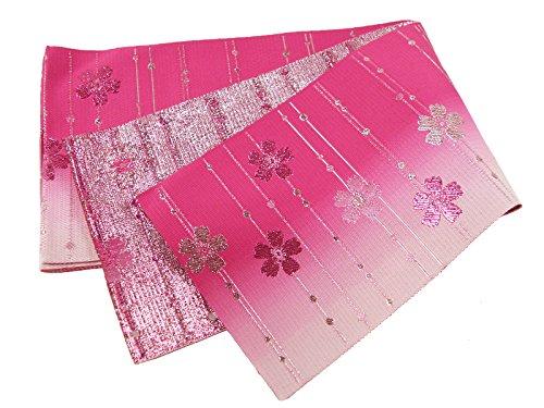 部分貫通大学院シルバーとピンクのラメ入り 単衣 浴衣帯 半幅帯 ピンク 日本製 yo-1