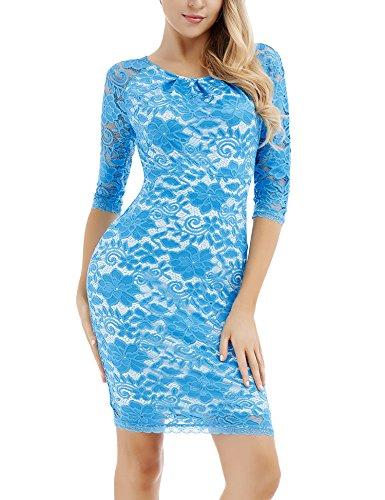 para Fiesta Vestido con Vestido Manga Bodycon Floral Cóctel Larga Encaje Boda Mujer con Azul Vintage Cielo para para wAZF6wpq