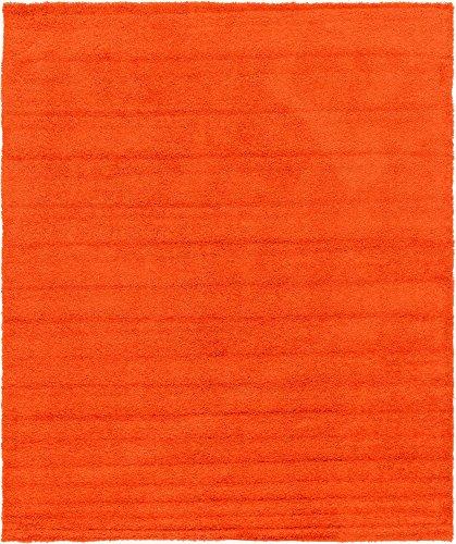 Unique Loom Solo Solid Shag Collection Modern Plush Tiger Orange Area Rug (12' 0 x 15' 0)