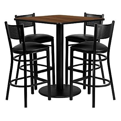 Flash Furniture 36'' Square Walnut Laminate Table Set with Grid Back Metal Bar Stool and Black Vinyl Seat Seats 4 [REST-0015-BK-WAL-FS-TDR]