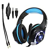 Edal Gaming Headset for PS4 PSP Xbox one, Led Light GM-1 Headphone with Microphone and Free Adapter Cable (Black+Blue)