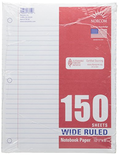 Norcom Filler Paper, 150 Count, Wide Ruled (2 Pack) (Wide Ruled Notebook Paper)