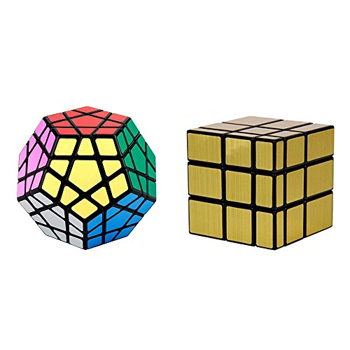 Pack - Including Megaminx Puzzle Cube and Gold Black Mirror Speed Cube Black (Megamix Set)