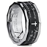 Metal Masters Co.® Men's Women's Black Stainless Steel Religious Cross Serenity Prayer Spinner Ring 9MM