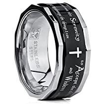 Metal Masters Co.® Mens Womens Black Stainless Steel Religious Cross Serenity Prayer Spinner Ring 9MM