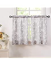 Taupe-White Tier Curtains Blossom Kitchen Tiers Flower Printed 36inches Long Bathroom Window Treatment Sets Floral Print Sheer Cafe Curtains Rod Pocket Set of 2