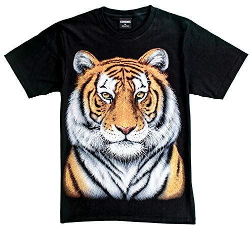 T-Shirt Sale 3D Glow in Dark Animal for Man Unisex (Small, Yellow Tiger 1 Portrait)