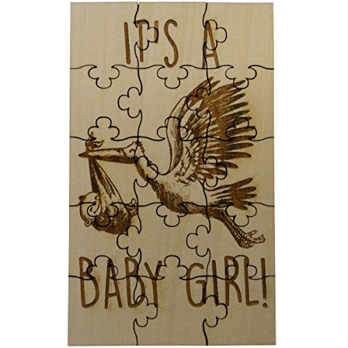 It's A Baby Girl! Gender Reveal 15 Piece Basswood Jigsaw Puzzle, Surprise Pregnancy Announcement ()