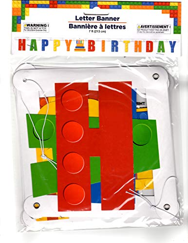 Lego Style Happy Birthday Banner by Greenbrier International -
