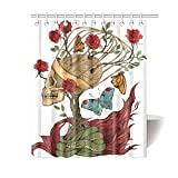 InterestPrint Floral Mexican Sugar Skull Rose Snake Polyester Fabric Shower Curtain Bathroom Sets Home Decor 60 X 72 Inches