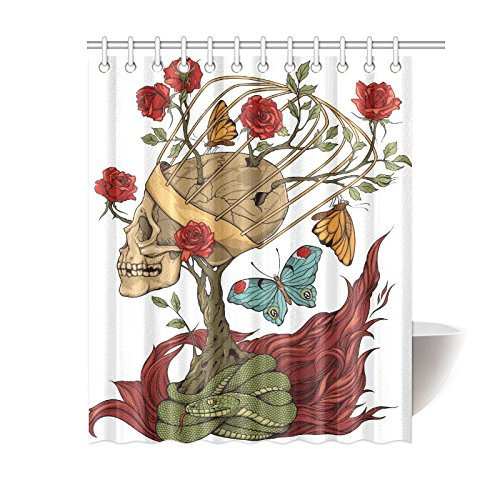 InterestPrint Floral Mexican Sugar Skull Rose Snake Polyester Fabric Shower Curtain Bathroom Sets Home Decor 60 X 72 Inches by InterestPrint