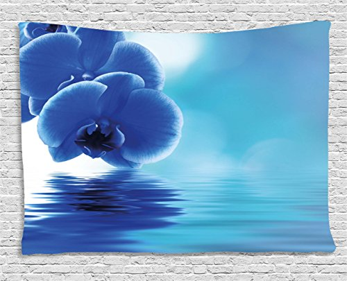 - Ambesonne Flower Tapestry, Orchid Floral Design with Reflection to a River Water Image Photo, Wall Hanging for Bedroom Living Room Dorm, 80 W X 60 L Inches, Violet Blue Aqua and White