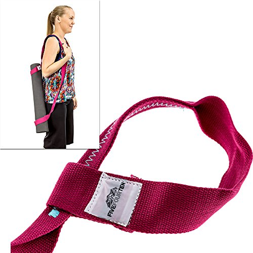 Yoga Mat Strap for carrying Yoga Mats of any kind & size. Replaces Yoga Mat bags and prevents bacteria growth (Lifetime Warranty & Money Back Guarantee Included) - FiveFourTen - Pink