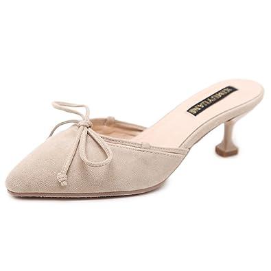 b84045632ccb4 Mules Femmes Mode Talons Aiguilles Sandales Kitten-Heel Nœud Confort Été  Bout Pointu Chaussures Beige