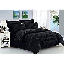 Elegant Comfort Dobby Stripe Bed-In-A-Bag 8-Piece Comforter Set -- Full/Queen, Black