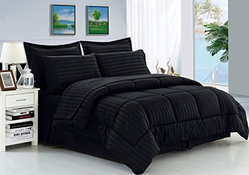 Elegant Comfort Wrinkle Resistant - Silky Soft Dobby Stripe Bed-in-a-Bag 8-Piece Comforter Set -Hypoallergenic - Full/Queen, Black