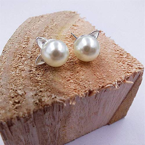 Fashion Simple Sweet Temperament Imitation Pearl Earrings Cat Ear Stud Gifts