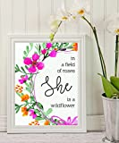 Girls Nursery - In a Field of Roses She is a Wildflower - print Floral Art - Nursery Decor - Flowers Print - Kids Room Decor - wall art decor - Ready to Hang - Lover gifts #WP#05