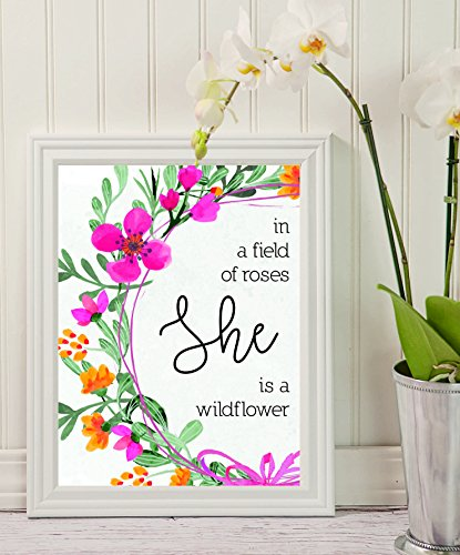 Girls Nursery - In a Field of Roses She is a Wildflower - print Floral Art - Nursery Decor - Flowers Print - Kids Room Decor - wall art decor - Ready to Hang - Lover gifts #WP#05 ()