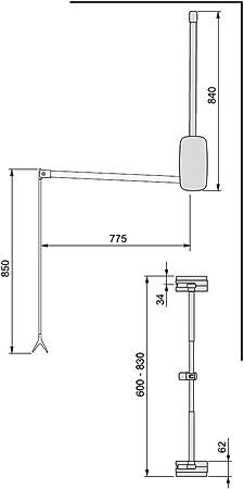 EMUCA - Barra de Armario abatible, Perchero basculante, Colgador abatible para Armario, Anchura Regulable 600-830mm, Blanco