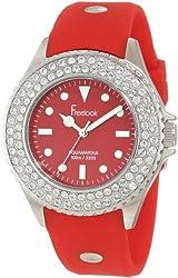 Freelook Women's HA9036-2 Red Band & Dial Ss Case Swarovski Bezel Watch
