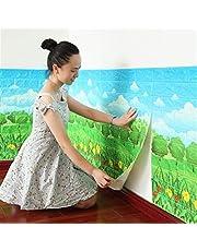 ASDFGH Los niños de decoración de Habitaciones, Sala de Estar, Dormitorio decoración, Ladrillos Fondo de Pantalla 3D, Autoadhesivo Fondo de Pantalla (5 Piezas) (Color : Grass, Dimensions : 70cmX77cm)