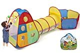 Utex Pop up Kids Play Tent with Tunnel and Ball Pit Indoor and Outdoor Easy Folding 3 in 1 Play House Children's Playground with Zippered Storage Bag