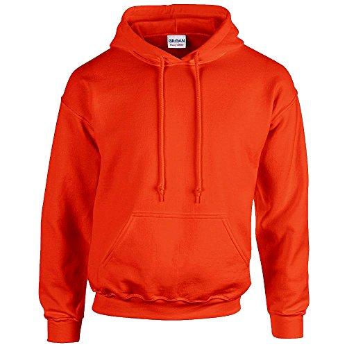 Gildan - Felpa con cappuccio e maniche lunghe, da uomo, Arancione (Arancione), XL