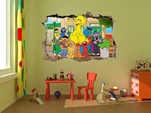 (Sesame Street Elmo Oscar 3D Window View Decal Graphic WALL STICKER Art Mural 18