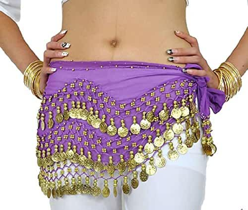 Buy Home Chiffon Dangling Gold Coins Belly Dance Hip Skirt Scarf Wrap Belt