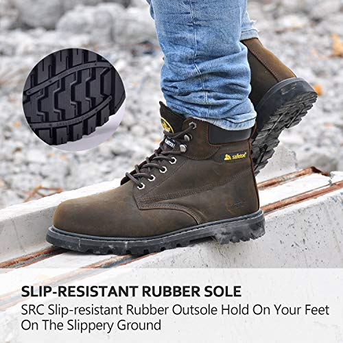 c28cf33e385b SAFETOE Work Boots for Men Steel Toe Safety Shoes - M8179 Women Leather  Wide Width Safety