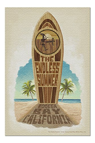 The Endless Summer - Surfboard in Sand - Bodega Bay, CA (20x30 Premium 1000 Piece Jigsaw Puzzle, Made in USA!) - Endless Summer Chipboard
