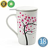 loose tea steeper teapot - Porcelain Tea-Cup(18 oz) with Strainer and Cover, TEANAGOO-Jupiter, Home Teapot Set with Steel Steeper - Love Tree, Tea-Mug Brewer Marker, Steeping Filter for Loose Leave Tea, Tea-Set New Year Gift