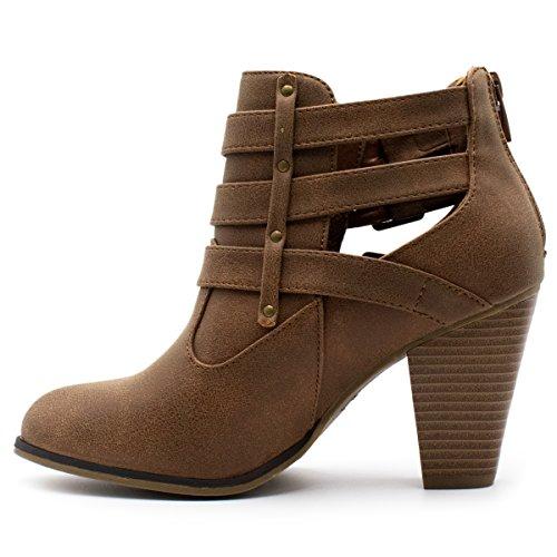 Ankle Women's Titan Strap Forever Mall Booties Heel Tan Block Buckle Premier EwAg0xq
