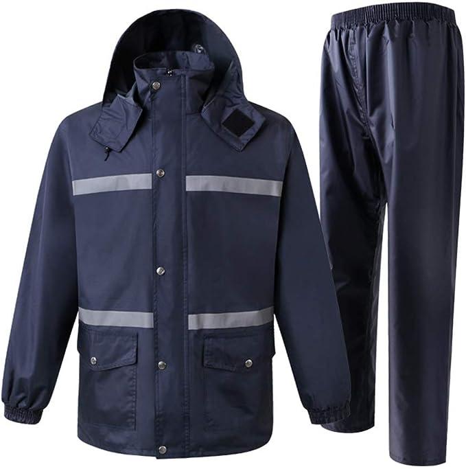 De Alta Visibilidad con Capucha De Rainsuit, Hi Vis A Saber: Las Batas con Capucha De Rainsuit El Traje De Chaqueta Y Pantalón For El Mens Al Aire Libre (Size : M):