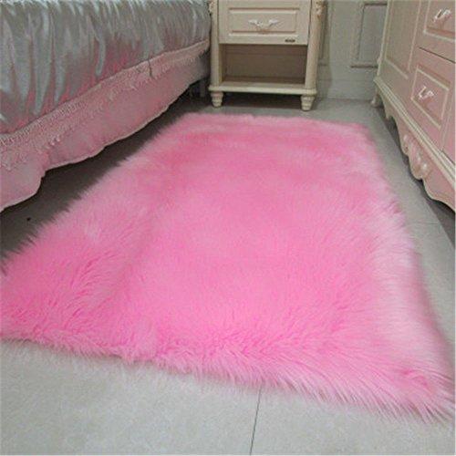 CHITONE Soft Faux Sheepskin Rug Mat Carpet Pad Anti-Slip Cha