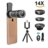Smartphone Camera Lens, Vorida 6 in 1 iPhone Telephoto Lens, 14X Telephoto Lens + 180° Fisheye Lens + 0.65X Wide Angle Lens + 15X Macro Lens + Tripod + Remote Control for iPhone X 8 7 6 Plus, Samsung,etc.