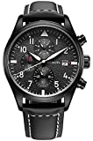 OCHSTIN Aviator Mens Military Chronograph Watch Black Leather Band Date Quartz Analog Pilot Watches