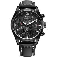 OCHSTIN Aviator Mens Military Chronograph Watch Black Leather Band Date Quartz Analog Pilot Watches