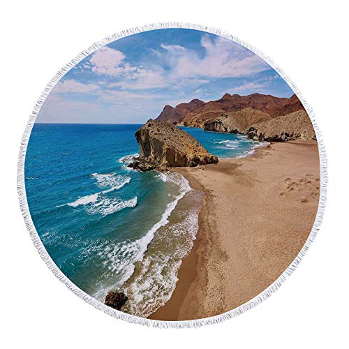 iPrint Thick Round Beach Towel Blanket,Landscape,Ocean View Tranquil Beach Cabo De Gata Spain Coastal Photo Scenic Summer Scenery,Blue Brown,Multi-Purpose Beach Throw by iPrint