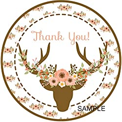 Boho Deer Antler Favor Tags or Sticker Labels, Boho Baby Shower Deer Antler Favor Tags or Stickers, Boho Thank You Favor Tags or Stickers