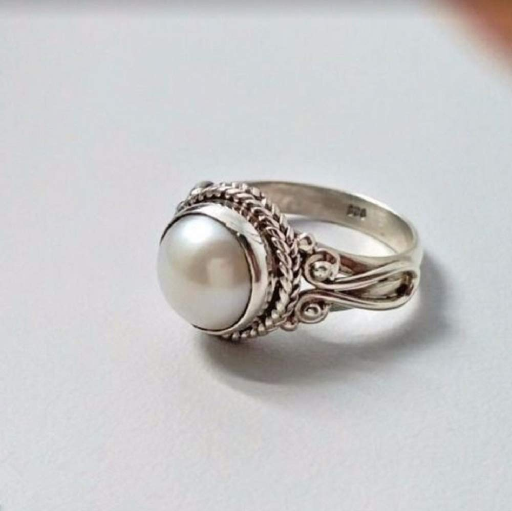 US Code 7 MIAHAO Women Pearl /& White Sapphire 925 Sterling Silver Ring Wedding Party Jewelry New Size 6-10