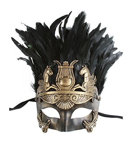 KAYSO INC The Spartacus Men's Roman Gladiator Masquerade Mask (Vintage Gold)