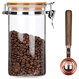KKC Home Accents Borosilicate Glass Coffee Bean Storage Container with Airtight Lid,Glass Sealed Jar with Locking Clamp Lid for Coffee Beans,Nuts,Coffee Storage Canister with Spoon,40 FLoz