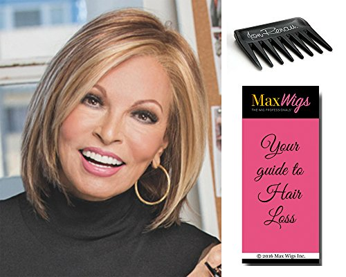 (Play It Straight Hairpiece Color R29S - Raquel Welch Women's Wigs Short Layered Bob Sheer Lace Front Mono Part Hand-Tied Bundle with Comb, MaxWigs Hair Loss Booklet)